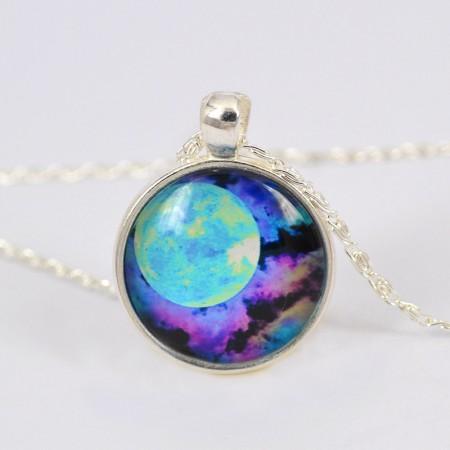 Beautiful Nebula Pattern Time Gemstone Necklace