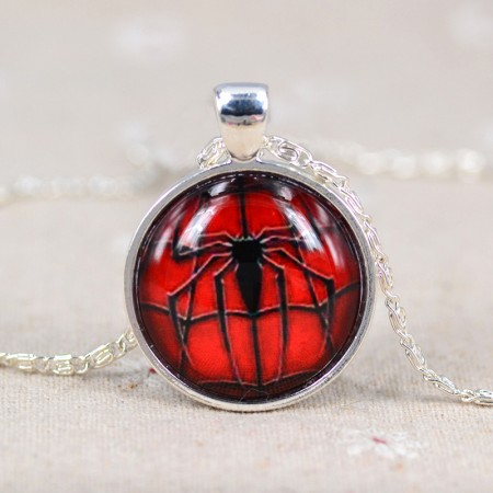 Fashion Spider-Man Spider Pattern Time Gemstone Necklace
