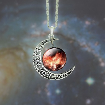 Red Starry And Moon Pattern Time Gemstone Necklace