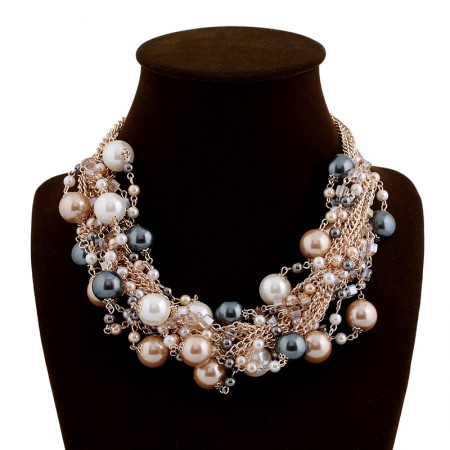 European Fashion Multilayer Colorful Pearls Statement Necklace