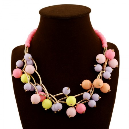 Colorful Multilayer Pearls Metal Statement Necklace