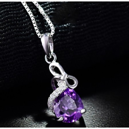 Romantic 925 Sterling Silver Amethyst Bow Women'S Necklace