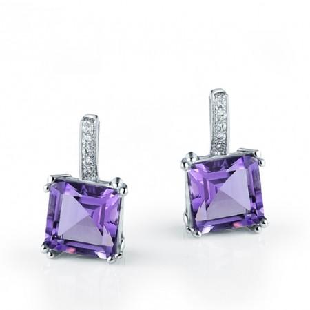Luxury Amethyst 925 Sterling Silver Happiness Women'S Earring