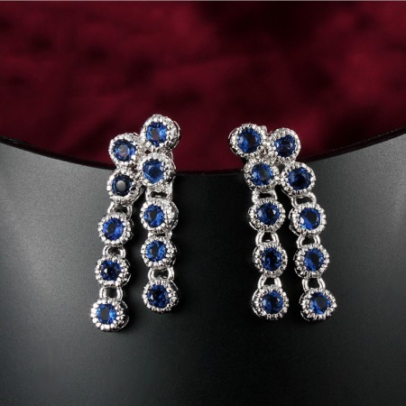 Vintage Europe Fashion Crystal With Tassel Drop Earrings
