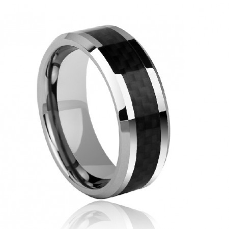 Simple Design Stylish Black Carbon Fiber Box Tungsten Gold Men's Ring