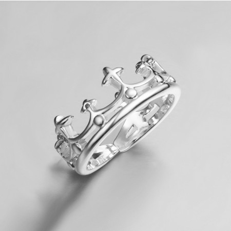 Vintage Cutout Crown Design 925 Sterling Silver Women's Ring