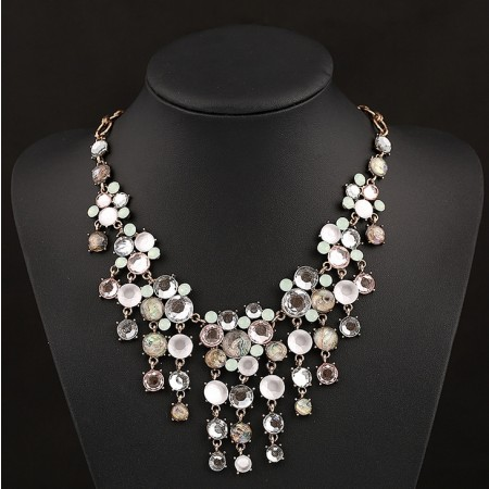 Retro Exaggerated Alloy Multilayer Crystal Gemstone Pendant Necklace