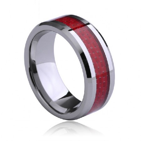 Stylish and Exquisite Red Carbon Fiber Box Tungsten Gold Men's Lucky Ring