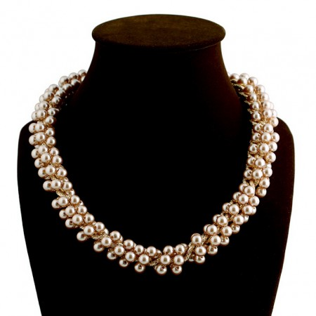 Luxury Multi- Pearl Short Paragraph Thick Gold Chain Beaded Necklace