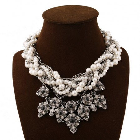 Retro European Style Crystal Stones Inlaid Multilayer pearl necklace