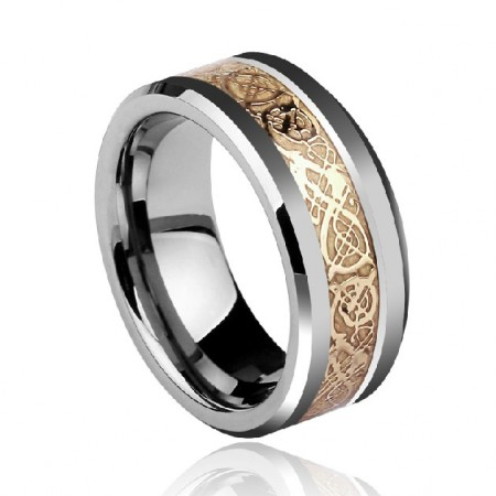 New Fashion High Quality Tungsten Gold Men's Ring