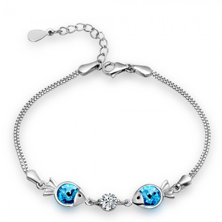Romantic CZ Inlaid 925 Sterling Silver Fish Women's Bracelet