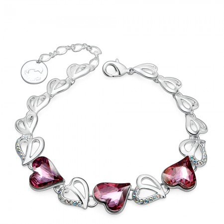 Original pink Angel Heart Crystal Bracelet For Women's