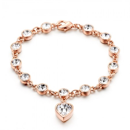 Romantic Love Rose Gold Diamond Bracelet For Women's