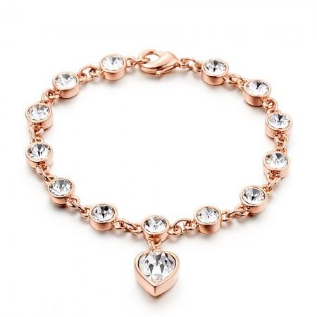 Romantic Love Rose Gold Diamond Bracelet For Women's