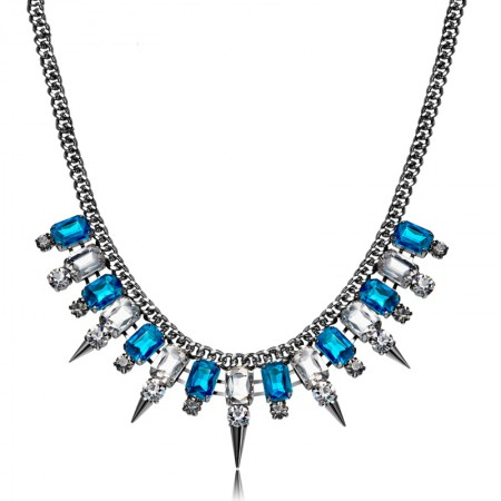 Luxury Exaggerated Blue Diamond Statement Necklace For Women