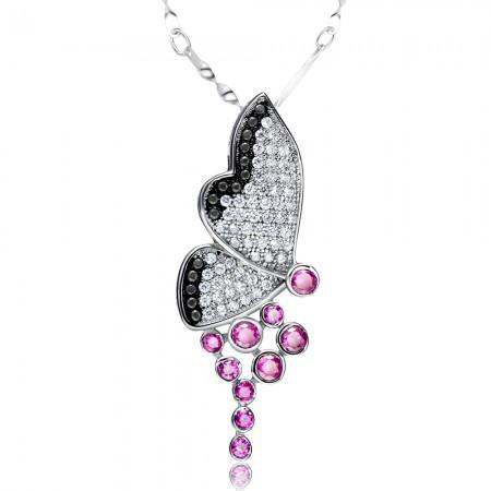Lovely 925 sterling silver Butterfly Flower Elf Women's Necklace