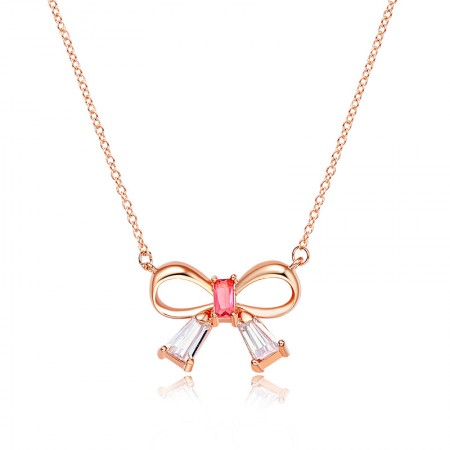 Romantic fine Bow Crystal Alloy Necklace For Women's