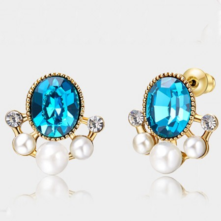 Romantic Stylish Glass Pupil Pearl Crystal Stud Earring