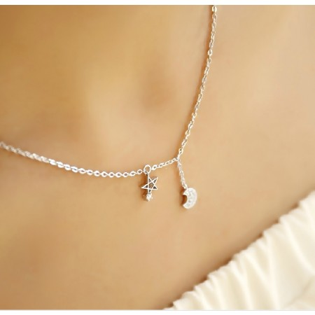 Fashion 925 Sterling Silver Moon Star Women's Necklace