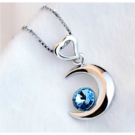 Contracted 925 sterling silver Blue Crystal Moon Women's Necklace