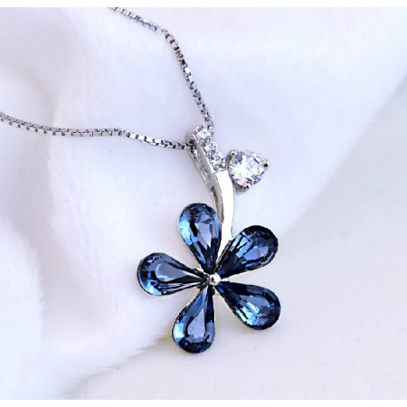 Fashion 925 Sterling Silver Blue Crystal Flowers Wild Necklace