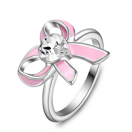 Fashion pink bow Zircon Alloy Opening Ring For Women'S