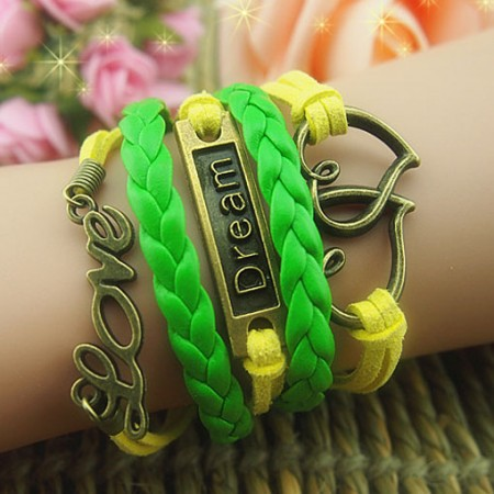 Fashionable Romantic Cross Love Braided Retro Bracelet