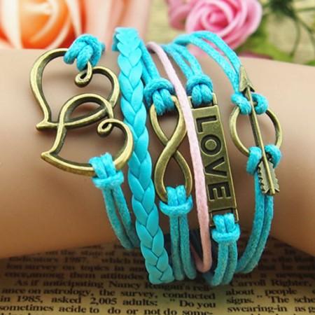 Romantic Sterling Silver Love Braided Retro Bracelet