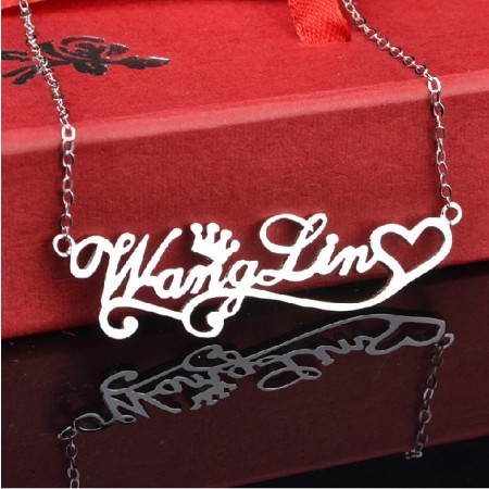 Feminine Pair of Customized Sterling Silver Women's Personalized  Monogram Necklace