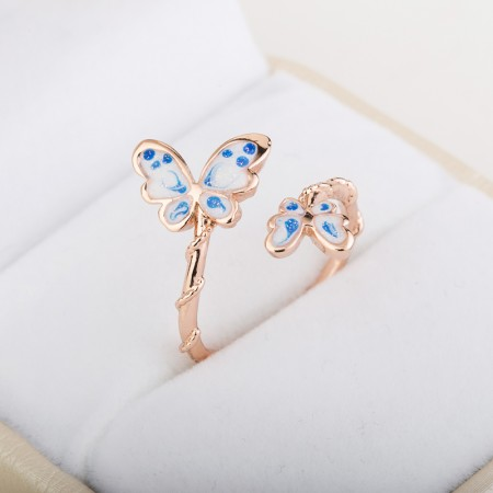 Vintage Korean Style 18K Gold Planted Women's Butterfly Ring