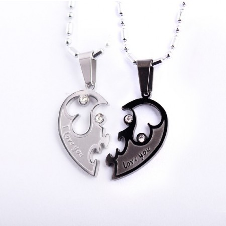 Glittering Stitching Design 'I Love You' Lover's Titanium Necklace, (Price For A Pair)