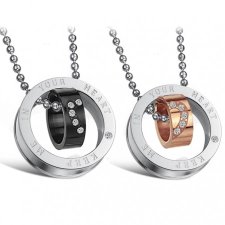 """Gorgeous """"Keep Me In Your Heart"""" Ring Pendant Lover's Titanium Necklace(Price For A Pair)"""