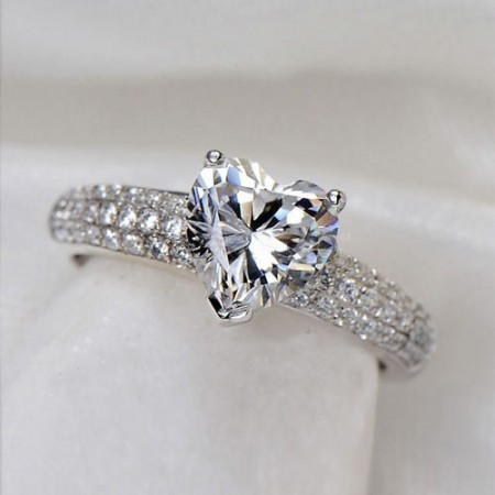 Heart 925 Sterling Silver White Gold Plated Cubic Zirconia Ring