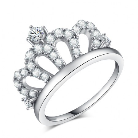 Vintage Cutout Crown Design Cubic Zirconia Women's Ring