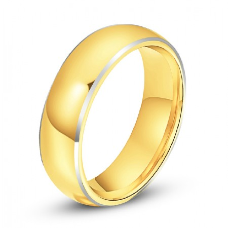 Engravable Yellow Gold Tungsten Wedding Band For His And Her