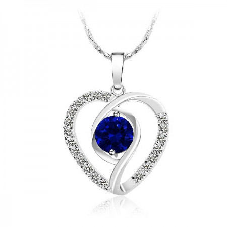 Fashion You Are In My Heart Crystal Heart Women's Sterling Silver Necklace