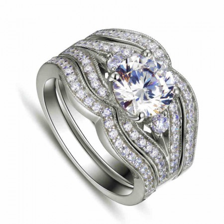Drops Style 925 Sterling Silver Platinum Plated Cubic Zirconia Stack Ring for Women