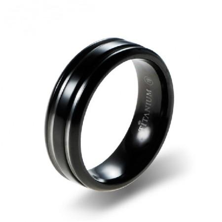 Men's Engravable Personalized Titanium Steel Black Ring Band