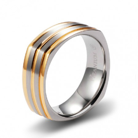 European Style Square Shape Titanium Steel With Rose Gold Plated Band Engravable For Men