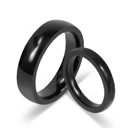 Simple Lovers Black Rings For Couples Engravable Titanium Steel Rings