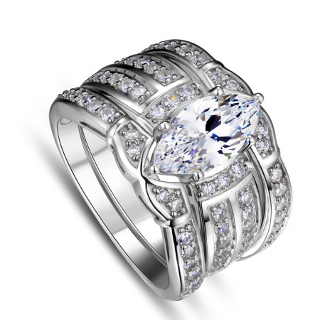 European and American atmospheric S925 silver inlaid rhodium-plated luxury Swiss diamond engagement ring