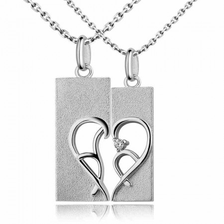 Personality heart 925 silver necklace couple