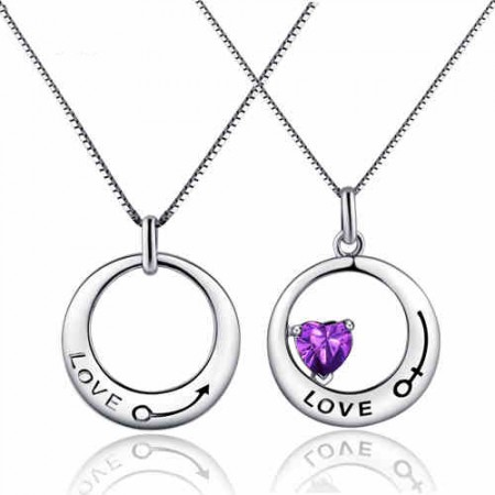 Creative Round LOVE   925 silver couple necklace