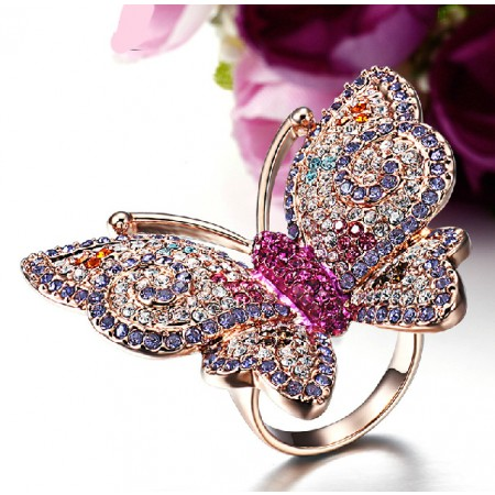 Colorful Butterfly Ring For Women Rose Gold Filled Alloy With CZ Inlaid