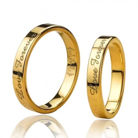 Love Forever Gold Tungsten Lover Rings For Couples (Price For A Pair)