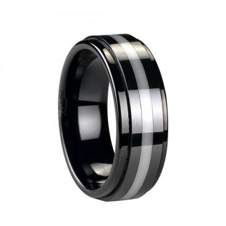 Amazing Tungsten Ring With White Ceramic Inlaid