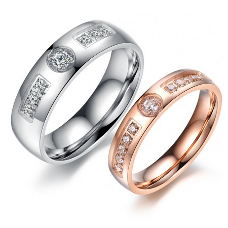 The new European and American fashion gift couple rings on the ring zircon