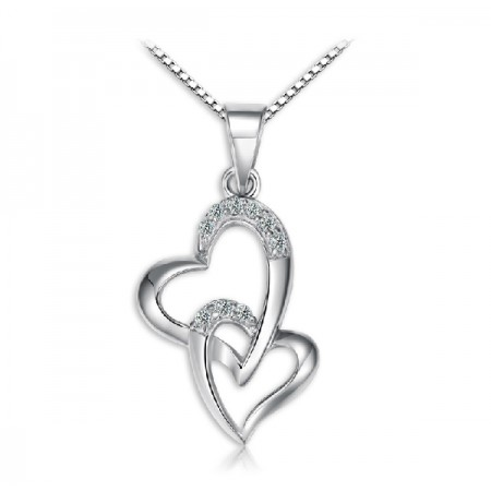 Fashion double heart 925 silver necklace