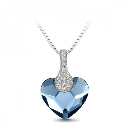 Denim Blue Cystal Necklace 925 Sterling Silver Necklaces